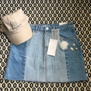 NWT Zara Fur and Pearl Detailed Denim Skirt